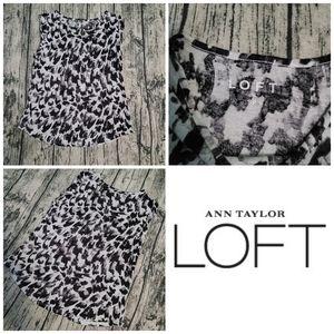 LOFT Ann Taylor Grey Leopard Print Sleeveless Top